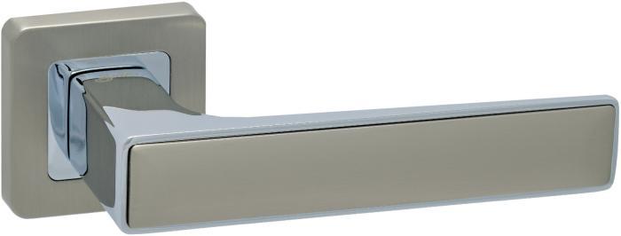 Ручки Safita Twin SQ MSN/CP матовый сатин никель / полированный хром - Дверные ручки — фото №1