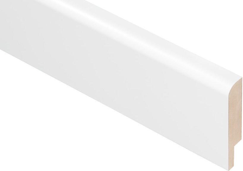 Плинтус Родос Basic R8 белый мат ПВХ МДФ ламинированный 2000 х 80 х 16 мм